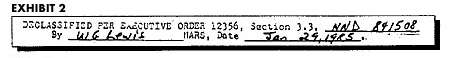 Declassification Slug from 000.9 files, Jan 29, 1985